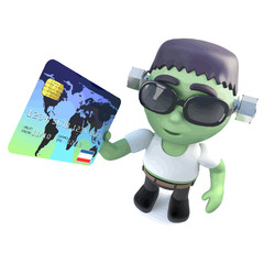 Vector 3d Funny cartoon frankenstein monster character holding a debit card