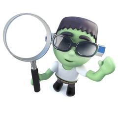 Vector 3d Funny cartoon frankenstein monster holding a magnifying glass