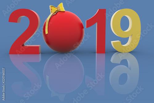 Decorazioni Natalizie 2019.Illustrazione 3d Capodanno 2019 Nella Decorazione Natalizia Il