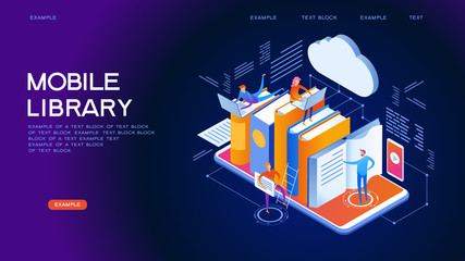 Mobile library isometric concept banner