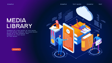 Media library isometric concept banner