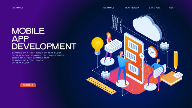 Mobile App Development isometric concept banner