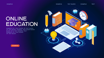Online Education isometric concept banner
