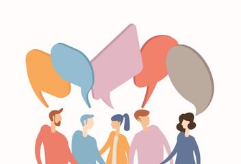 Social networks dialogue concept banner