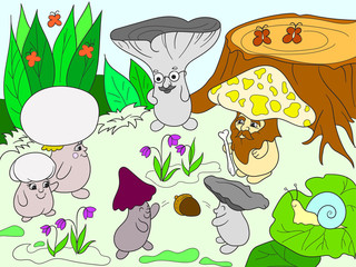 Family of mushrooms in the forest color book for children cartoon illustration.