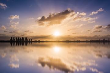The skyline of sunrise