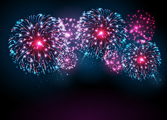 Vector holiday festival blue and pink firework. Independence day