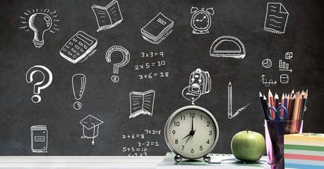 Education drawing on blackboard for school