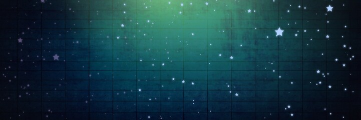 Stars over Vignette and light on green brick wall background