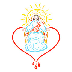 The reigning Jesus on the throne, the heart, the sun and the healing blood