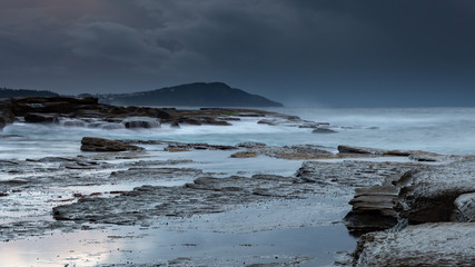 Dark and Stormy Early Morning Seascape