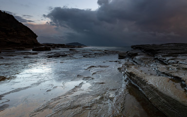 Stormy Seascape and Rock Platform