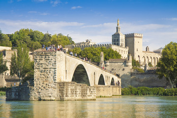 Avignon city with the ancient broken medieval bridge of Saint Benezet