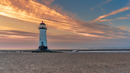 Evening clouds at the Point of Ayr Lighthouse near Talacre, Flintshire, Wales, UK