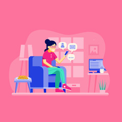 Young girl sitting on chair at modern home furnishing and networking with smartphone. Smiling woman surfing social network, chatting, sending and receiving messages.