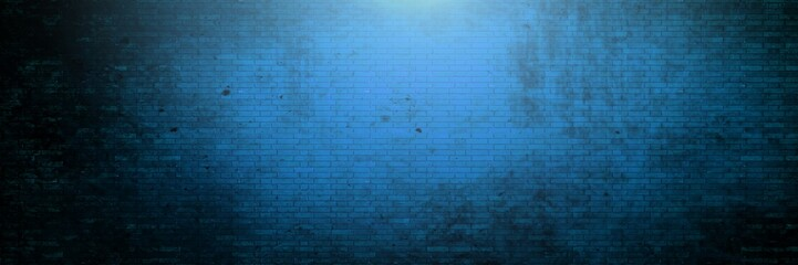 Vignette and light on blue brick wall background