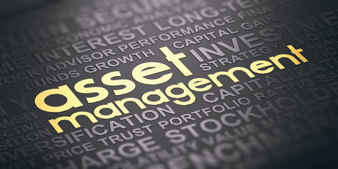 Wall Mural - Asset Management Background, Words Cloud Concept In Black and Gold Tones.