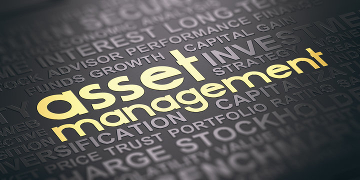 Asset Management Background, Words Cloud Concept In Black and Gold Tones.
