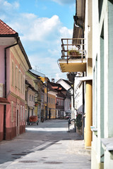 Scenic view to ages-old cultural town Kranj in Slovenia with beautiful sky at background