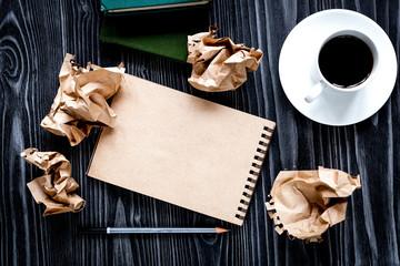 concept of writer desktop wooden background top view mock up