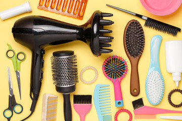 Image accessories of hairdresser, hair dryer, combs