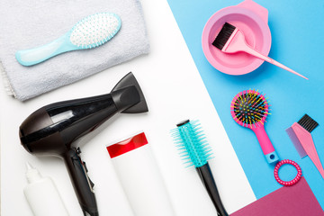 Photo accessories of hairdresser, hair dryer, combs