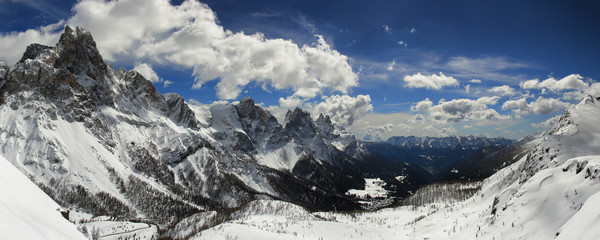 Palla di San Martino seen from Passo Rolle, Dolomites, Italy