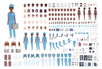 African American female paramedic or nurse constructor. Set of woman's body details, gestures, scrubs isolated on white background. Front, side and back views. Flat cartoon vector illustration.