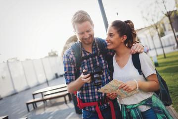 Lovely couple going through photos
