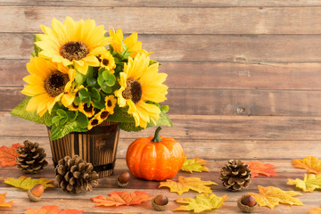 Fall Still Life with Sunflowers , Leaves, Acorns and Pumpkin