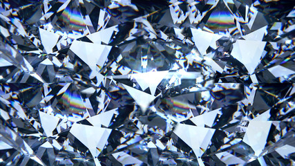 Blue diamond dispersion 3D render. Fancy color diamond. Round diamond cut animation with light dispersions on surface. Background with shiny gem stone.