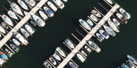 Aerial photo of boats in marina