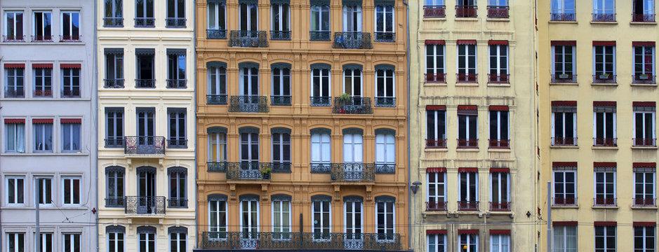 Old european buildings facade