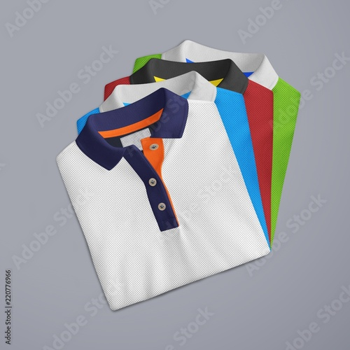 T-Shirt mockup, folded and stacked front view on white