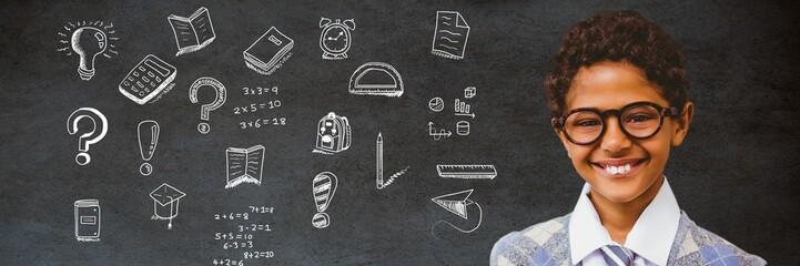 School boy and Education drawing on blackboard for school