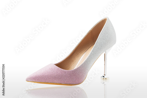 c9cd99e341a Pink and silver high heels isolated on white background. Pastel color. A  modern. Clipping path for design or artwork.