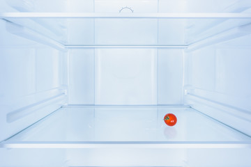 one small red tomato in fridge