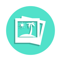picture of palm trees icon in badge style. One of travel collection icon can be used for UI, UX