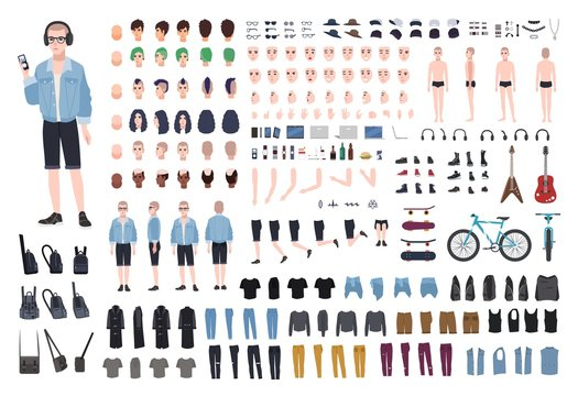 Young teenage boy DIY kit. Set of teenager's body parts in different positions, various subcultures' attributes, clothes and accessories isolated on white background. Cartoon vector illustration.