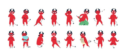 Collection of funny red-skined devil in different postures isolated on white background. Set of cute adorable demon expressing various emotions. Colorful vector illustration in flat cartoon style.