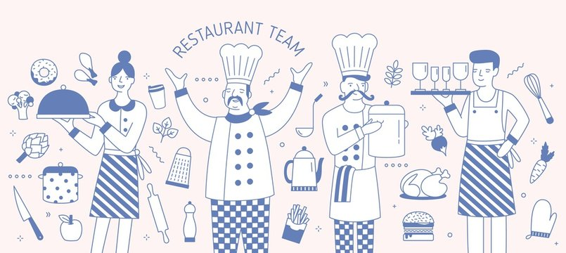 Horizontal banner template with chief, cook, waiter and waitress surrounded by food products and cooking tools. Restaurant team, personnel or staff. Monochrome vector illustration in line art style.