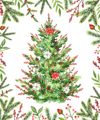 Christmas tree with flowers, berries and cones in a frame isolated on white background. Watercolor hand drawn illustration