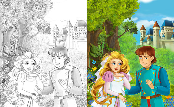 Cartoon scene with cute princes in the forest near the castle - beautiful manga girl - with coloring page - illustration for children