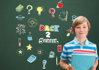 School boy holding books and Back to school Education drawing on