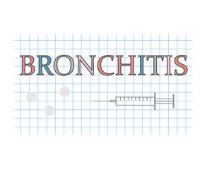 Bronchitis word on checkered paper sheet- vector illustration
