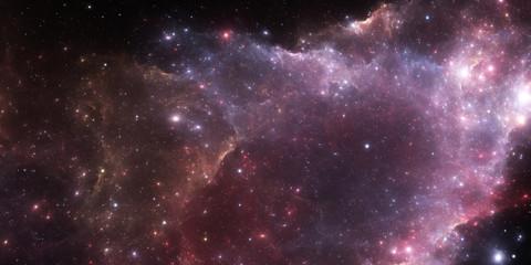 Deep space nebula. Giant interstellar cloud with stars