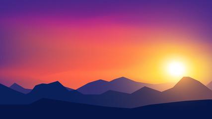 Vector polygonal landscape illustration - flat design
