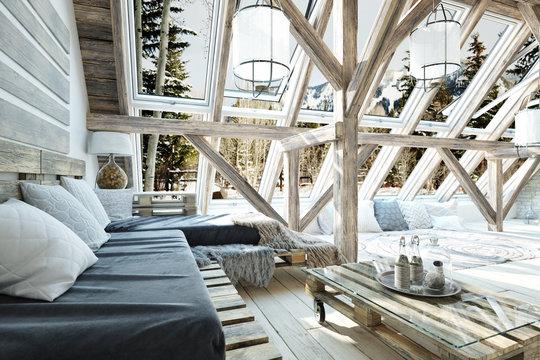 Rustic open floor interior room concept design with winter scenic background. 3d rendering