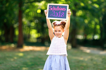 Happy little kid girl standing with desk and backpack or satchel. Schoolkid on first day of elementary class. Healthy adorable child outdoors, in green park. On desk - Schoolchild 2018 in German