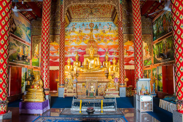 Golden Buddha statues , Wat Puak pia , Temple in Chiang Mai Thailand